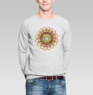 """Sunflower mandala - Свитшот мужской без капюшона серый меланж, """"психоделика"""", Популярные"""