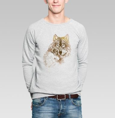 Супруги - Купить мужские свитшоты с волками в Москве, цена мужских свитшотов с волками  с прикольными принтами - магазин дизайнерской одежды MaryJane