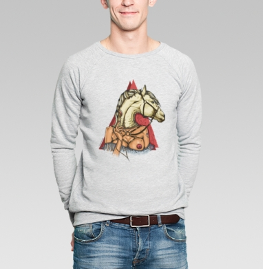 White horse - Купить мужские свитшоты с символами в Москве, цена мужских свитшотов с символом с прикольными принтами - магазин дизайнерской одежды MaryJane