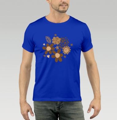 Футболка мужская синяя - Цветуёчки