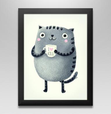 Кот I♥kill - Постер в чёрной раме