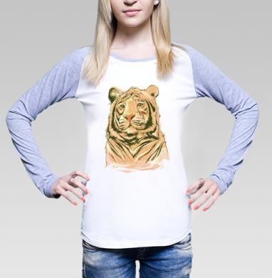 Тигры, Футболка лонгслив женская бело-серая