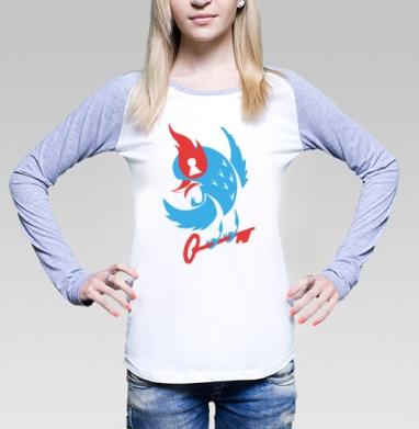 Загадочная птица, Футболка лонгслив женская бело-серая