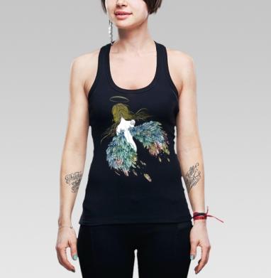 Борцовка женская чёрная рибана 200гр - цветные крылья