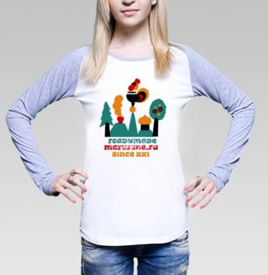 Readymade, Футболка лонгслив женская бело-серая