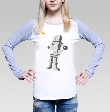 Футболка лонгслив женская бело-серая - Robotics