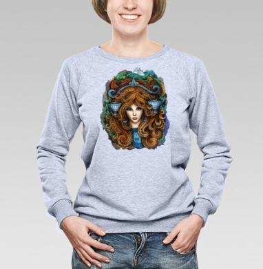 Зодиак Весы - Cвитшот женский, толстовка без капюшона  серый меланж, olkabalabolka, Новинки