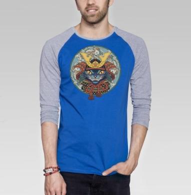 Самурай - Футболка мужская с длинным рукавом синий / серый меланж, военные, Популярные