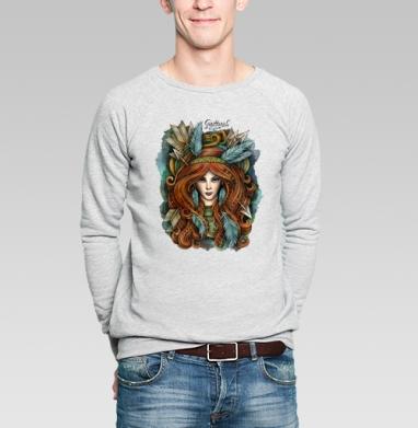 Зодиак Стрелец  - Свитшот мужской серый-меланж  320гр, стандарт, olkabalabolka