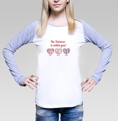 Футболка лонгслив женская бело-серая - Холодное сердце