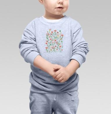 Cвитшот Детский серый меланж - Цветочная поляна