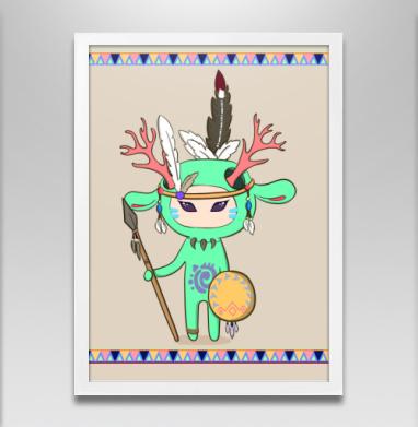 Олень - Постер в белой раме, индеец