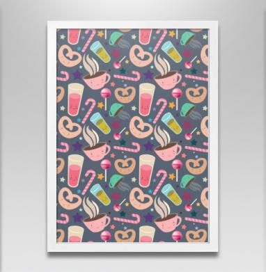 Кавайный сладости - Постер в белой раме, сладости