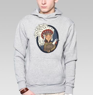 Индеец и индейка - Купить толстовку мужскую с капюшоном