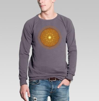 Свитшот мужской без капюшона тёмно-серый - Золотое сияние