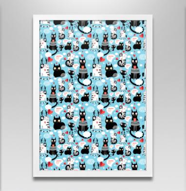 Узор влюблённые коты - Постер в белой раме, для влюбленных