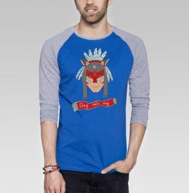 Человек человеку волк - Футболка мужская с длинным рукавом синий / серый меланж, индеец, Популярные
