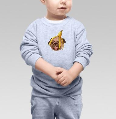 Cвитшот Детский серый меланж - Мопс и банановая кожура