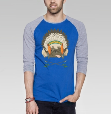 Мопс индеец - Футболка мужская с длинным рукавом синий / серый меланж, индеец, Популярные