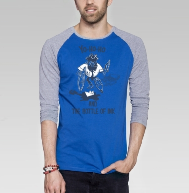 БЕД ОФИСМЕН - Футболка мужская с длинным рукавом синий / серый меланж, пират, Популярные