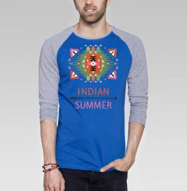 Деокративный геометрический узор в американском винтажном стиле - Футболка мужская с длинным рукавом синий / серый меланж, этно, Популярные