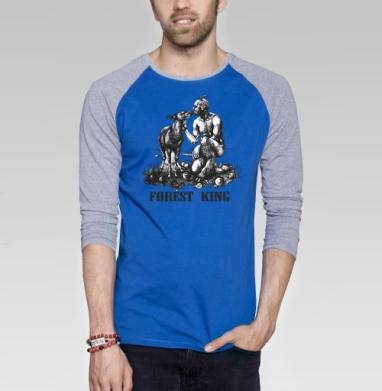 Лесной царь - Футболка мужская с длинным рукавом синий / серый меланж, осень, Популярные