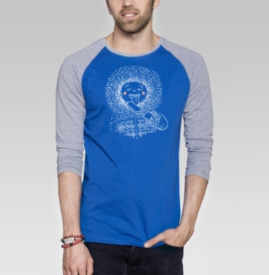 Я ЯКУТ - Футболка мужская с длинным рукавом синий / серый меланж, мороженое, Популярные