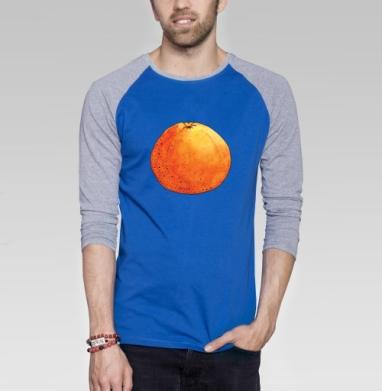 Апельсин - Футболка мужская с длинным рукавом синий / серый меланж, фрукты, Популярные