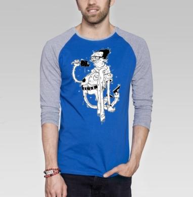 Дядька с мороженым - Футболка мужская с длинным рукавом синий / серый меланж, мороженое, Популярные