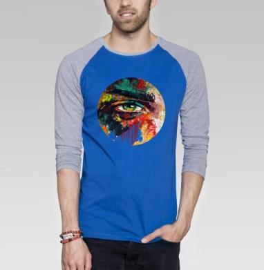 Кара - Футболка мужская с длинным рукавом синий / серый меланж, живопись, Популярные