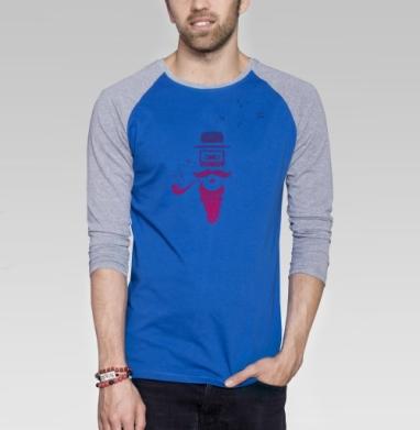 Кассета - Футболка мужская с длинным рукавом синий / серый меланж, усы, Популярные