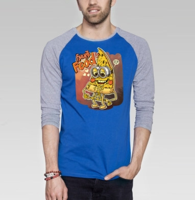 Кусочек пиццы - Футболка мужская с длинным рукавом синий / серый меланж, еда, Популярные