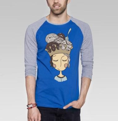 Мороженое для принцессы - Футболка мужская с длинным рукавом синий / серый меланж, мороженое, Популярные