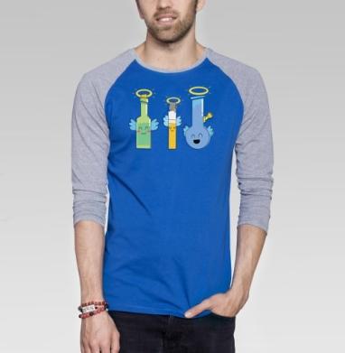 Святоши - Футболка мужская с длинным рукавом синий / серый меланж, дым, Популярные