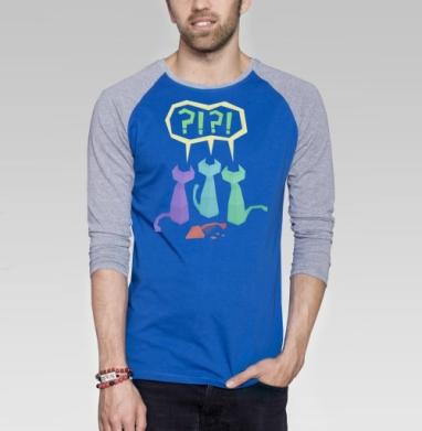 3 Котэ и Рыба - Футболка мужская с длинным рукавом синий / серый меланж, киты, Популярные