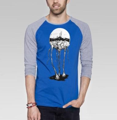 Город под куполом - Футболка мужская с длинным рукавом синий / серый меланж, горы, Популярные