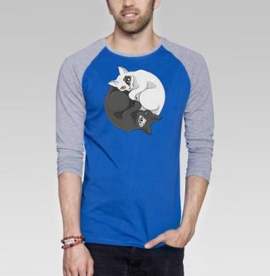 Кошачий инь-янь - Футболка мужская с длинным рукавом синий / серый меланж, символ, Популярные