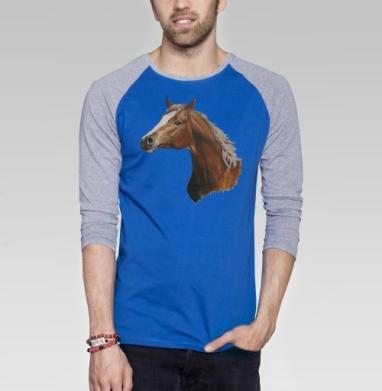 Лошадь - Футболка мужская с длинным рукавом синий / серый меланж, иллюстация, Популярные