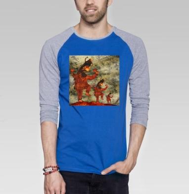 Mad Shaman - Футболка мужская с длинным рукавом синий / серый меланж, грибы, Популярные