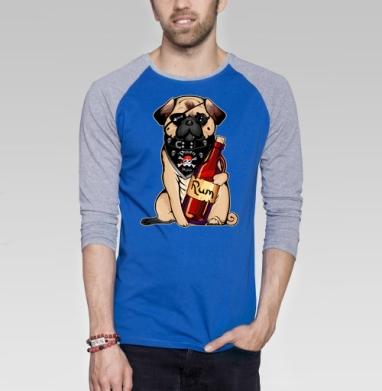 Pirate pug - Футболка мужская с длинным рукавом синий / серый меланж, пират, Популярные