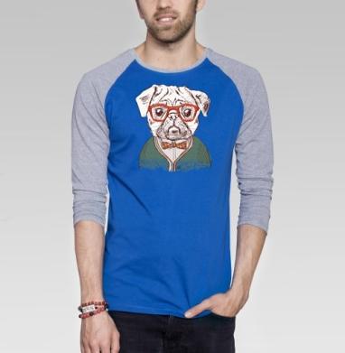 Стиляга - Футболка мужская с длинным рукавом синий / серый меланж, собаки, Популярные