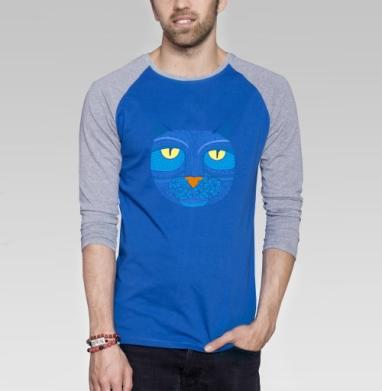 Узорный кошатик - Футболка мужская с длинным рукавом синий / серый меланж, лицо, Популярные