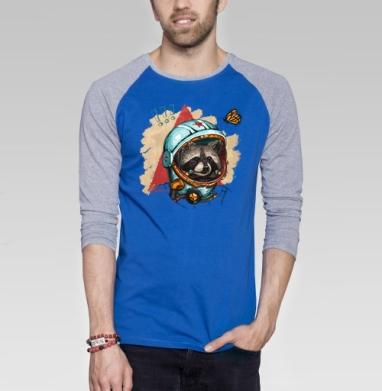 Весенний енот - Футболка мужская с длинным рукавом синий / серый меланж, Бабочки