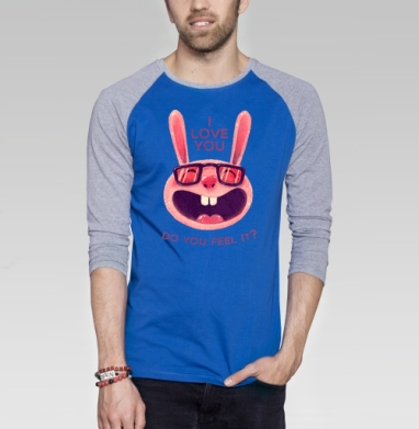 Влюбленный зая - Футболка мужская с длинным рукавом синий / серый меланж, для влюбленных, Популярные
