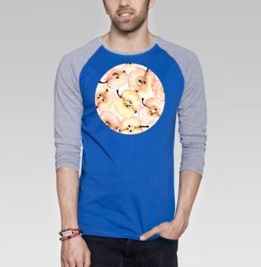 Яблоки  - Футболка мужская с длинным рукавом синий / серый меланж, еда, Популярные
