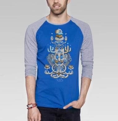 ЙогаМэн - Футболка мужская с длинным рукавом синий / серый меланж, йога, Популярные