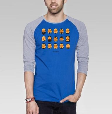 БОРОДА И УСЫ - Футболка мужская с длинным рукавом синий / серый меланж, борода, Популярные