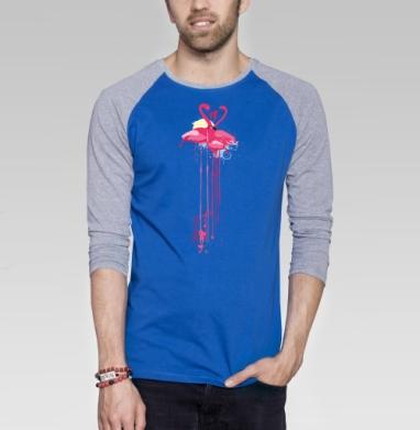 Фламинго  - Футболка мужская с длинным рукавом синий / серый меланж, мода, Популярные