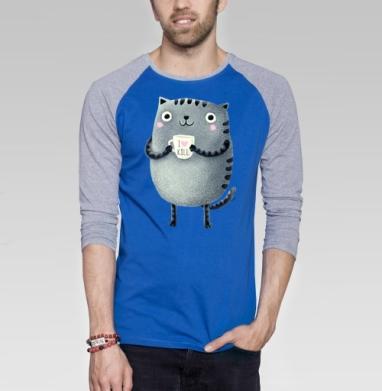 Кот I♥kill - Футболка мужская с длинным рукавом синий / серый меланж, нежность, Популярные