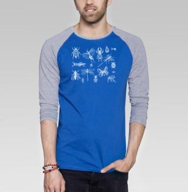 Насекомые  - Футболка мужская с длинным рукавом синий / серый меланж, бабочки, Популярные